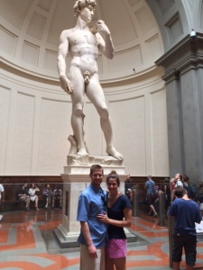"The Mister and I standing in front of  ""David"""